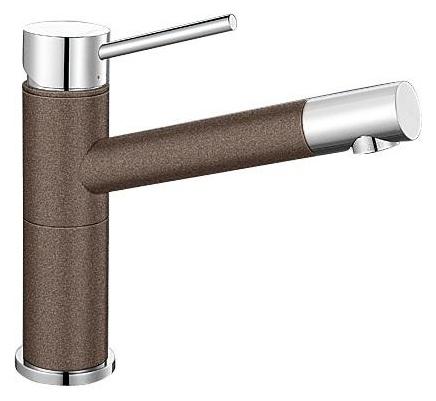 Alta 515324 Хром/КофеСмесители<br>Blanko Alta 515324. Однорычажный смеситель для кухни. Сочетает хромированную поверхность и инновационный материал Silgranit, цвет хром/кофе, рычаг переключения расположен вверху над изливом. Керамический картридж. Гибкая подводка стандарта 3/8.  Допустимая толщина столешницы: 45 мм. Длина излива: 200 мм. Высота излива: 155 мм. Вращение излива на 360 градусов. Стабилизирующая пластина для увеличения устойчивости смесителя.<br>