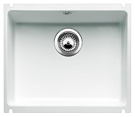 Subline 500-U 523735 (514509) белая матоваяКухонные мойки<br>Кухонная мойка Blanco Subline 500-U 523735 с клапаном-автоматом из керамики с водоотталкивающим покрытием PuraPlus.  Благодаря покрытию на поверхности мойки образуется меньше отложений и ее легче чистить. Монтаж под столешницу, толщина которой должна быть не менее 25 мм. Для установки в шкаф шириной от 60 см. Отводная арматура InFino.<br>