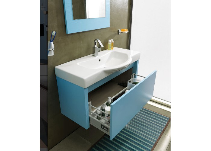 Ciak CKPLA95CC БелыйМебель для ванной<br>Тумба под раковину Labor Legno CIAK из дерева с одним ящиком без ручек.<br>