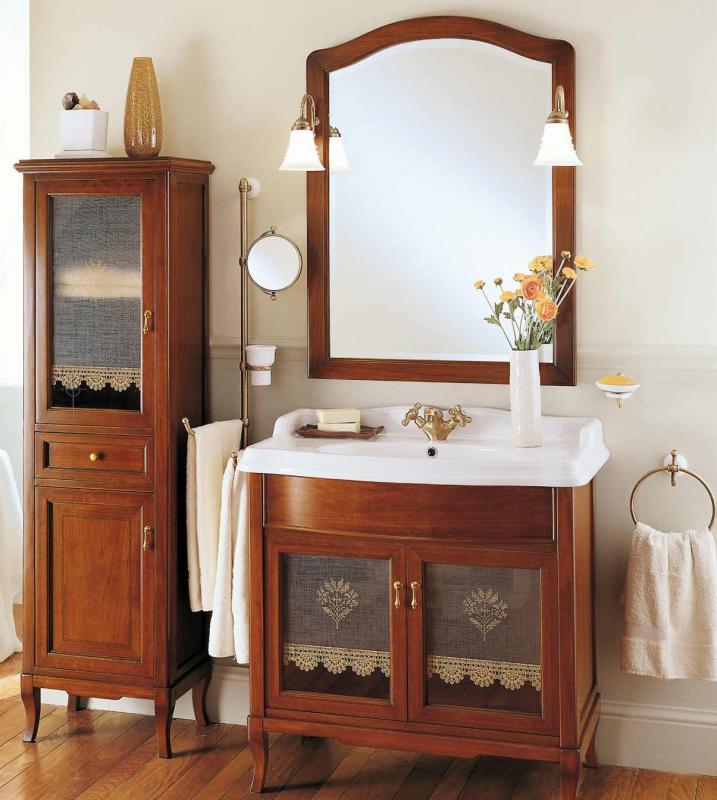 Victoria H0/11.SX Орех/БронзаМебель для ванной<br>Пенал для ванны Labor Legno Victoria с одним выдвижным ящиком и двумя левосторонними дверцами. Цвет орех, фурнитура бронза.<br>