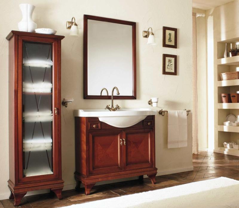 Marriot M0/11.SX Вишня/БронзаМебель для ванной<br>Пенал Labor Legno Marriot для ванной комнаты с одной левосторонней дверцей со стеклом. Цвет вишня, фурнитура бронза.<br>