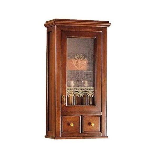 Victoria H0/7.SX Орех/БронзаМебель для ванной<br>Подвесной шкаф Labor Legno Victoriaдля ванной комнаты с одной правосторонней дверцей со стеклом и двумя ящиками. Цвет фасада орех, фурнитура бронза.<br>