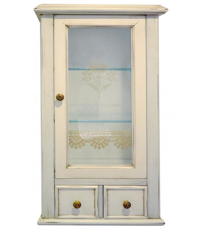 Victoria H0/7PAT.SX Белый с патиной/бронзаМебель для ванной<br>Подвесной шкаф Labor Legno Victoria для ванной комнаты с одной правосторонней дверцей со стеклом и двумя ящиками. Цвет белый с патиной, фурнитура бронза.<br>