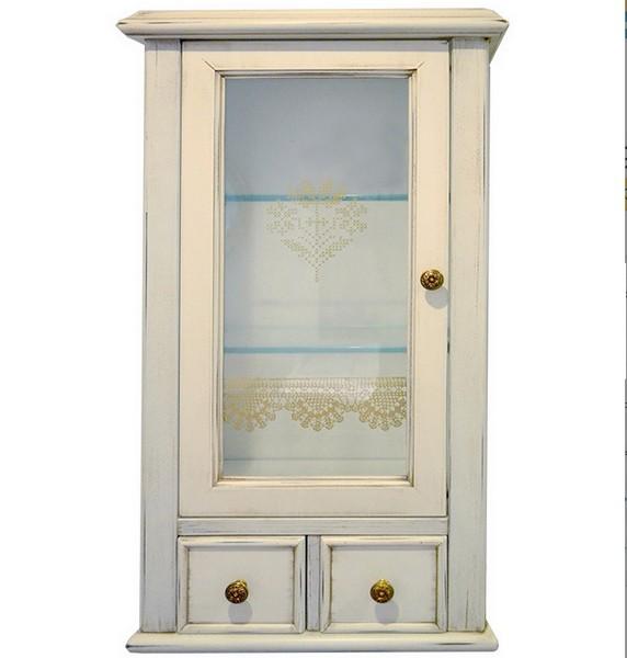 Victoria H0/7PAT.DX Белый с патиной/бронзаМебель для ванной<br>Подвесной шкаф Labor Legno Victoriaдля ванной комнаты с одной левосторонней дверцей со стеклом и двумя ящиками. Цвет белый с патиной, фурнитура бронза.<br>