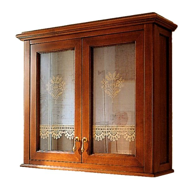 Victoria H0/8 Орех/БронзаМебель для ванной<br>Подвесной шкаф Labor Legno Victoria для ванной комнаты с одной дверцей со стеклом. Цвет орех, фурнитура бронза.<br>