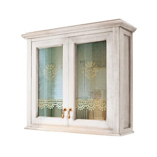 Victoria H0/8PAT Белый с патиной/бронзаМебель для ванной<br>Подвесной шкаф  Labor Legno Victoria для ванной комнаты с одной дверцей со стеклом. Цвет белый с патиной, фурнитура бронза.<br>