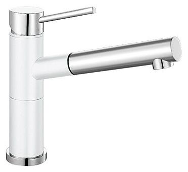 Alta 515327 Хром/БелыйСмесители<br>Blanko Alta 515327. Однорычажный смеситель для кухни с выдвижным изливом. Сочетает хромированную поверхность и инновационный материал Silgranit, цвет хром/белый, рычаг переключения расположен вверху над изливом. Керамический картридж. Гибкая подводка стандарта 3/8.  Допустимая толщина столешницы: 45 мм. Длина излива: 200 мм. Высота излива: 155 мм. Вращение излива на 128 градусов. Два возвратных клапана, предотвращающих возврат воды. Стабилизирующая пластина для увеличения устойчивости смесителя.<br>
