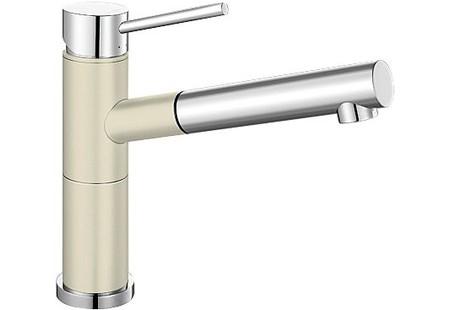 Alta 515328 Хром/ЖасминСмесители<br>Blanko Alta 515328. Однорычажный смеситель для кухни с выдвижным изливом. Сочетает хромированную поверхность и инновационный материал Silgranit, цвет хром/жасмин, рычаг переключения расположен вверху над изливом. Керамический картридж. Гибкая подводка стандарта 3/8.  Допустимая толщина столешницы: 45 мм. Длина излива: 200 мм. Высота излива: 155 мм. Вращение излива на 128 градусов. Два возвратных клапана, предотвращающих возврат воды. Стабилизирующая пластина для увеличения устойчивости смесителя.<br>