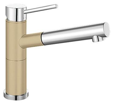 Alta 515329 Хром/ШампаньСмесители<br>Blanko Alta 515329. Однорычажный смеситель для кухни с выдвижным изливом. Сочетает хромированную поверхность и инновационный материал Silgranit, цвет хром/шампань, рычаг переключения расположен вверху над изливом. Керамический картридж. Гибкая подводка стандарта 3/8.  Допустимая толщина столешницы: 45 мм. Длина излива: 200 мм. Высота излива: 155 мм. Вращение излива на 128 градусов. Два возвратных клапана, предотвращающих возврат воды. Стабилизирующая пластина для увеличения устойчивости смесителя.<br>