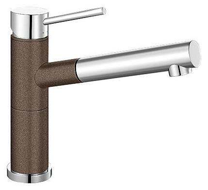 Alta 515334 Хром/КофеСмесители<br>Blanko Alta 515334. Однорычажный смеситель для кухни с выдвижным изливом. Сочетает хромированную поверхность и инновационный материал Silgranit, цвет хром/кофе, рычаг переключения расположен вверху над изливом. Керамический картридж. Гибкая подводка стандарта 3/8.  Допустимая толщина столешницы: 45 мм. Длина излива: 200 мм. Высота излива: 155 мм. Вращение излива на 128 градусов. Два возвратных клапана, предотвращающих возврат воды. Стабилизирующая пластина для увеличения устойчивости смесителя.<br>