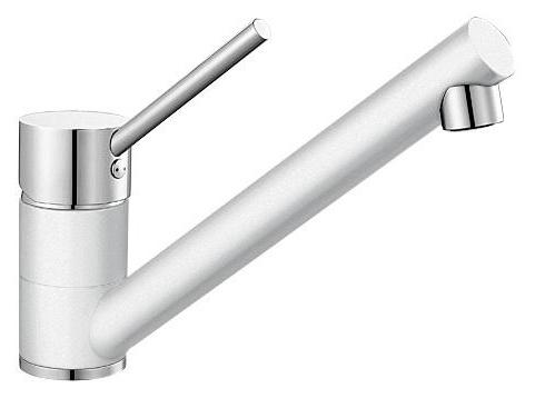 Antas 515339 Хром/БелыйСмесители<br>Blanko Antas 515339. Однорычажный смеситель для кухни. Сочетает хромированную поверхность и инновационный материал Silgranit, цвет хром/белый, рычаг переключения расположен вверху над изливом. Керамический картридж. Гибкая подводка стандарта 3/8.  Допустимая толщина столешницы: 40 мм. Длина излива: 208 мм. Высота излива: 139 мм. Вращение излива на 360 градусов. Запатентованный рассекатель, уменьшающий отложения налета от воды. Стабилизирующая пластина для увеличения устойчивости смесителя.<br>