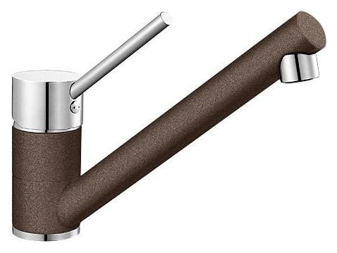 Antas 515346 Хром/КофеСмесители<br>Blanko Antas 515346. Однорычажный смеситель для кухни. Сочетает хромированную поверхность и инновационный материал Silgranit, цвет хром/кофе, рычаг переключения расположен вверху над изливом. Керамический картридж. Гибкая подводка стандарта 3/8.  Допустимая толщина столешницы: 40 мм. Длина излива: 208 мм. Высота излива: 139 мм. Вращение излива на 360 градусов. Запатентованный рассекатель, уменьшающий отложения налета от воды. Стабилизирующая пластина для увеличения устойчивости смесителя.<br>