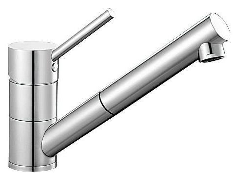 Antas-S 515348 ХромСмесители<br>Blanko Alta 515348. Однорычажный смеситель для кухни с выдвижным изливом. Цвет хром, рычаг переключения расположен вверху над изливом. Керамический картридж. Гибкая подводка стандарта 3/8. Допустимая толщина столешницы: 40 мм. Длина излива: 192 мм. Высота излива: 148 мм. Вращение излива на 140 градусов. Два возвратных клапана, предотвращающих возврат воды. Стабилизирующая пластина для увеличения устойчивости смесителя.<br>