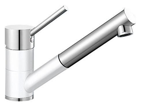 Antas-S 515350 Хром/БелыйСмесители<br>Blanko Alta 515350. Однорычажный смеситель для кухни с выдвижным изливом. Сочетает хромированную поверхность и инновационный материал Silgranit, цвет хром/белый, рычаг переключения расположен вверху над изливом. Керамический картридж. Гибкая подводка стандарта 3/8. Допустимая толщина столешницы: 40 мм. Длина излива: 192 мм. Высота излива: 148 мм. Вращение излива на 140 градусов. Два возвратных клапана, предотвращающих возврат воды. Стабилизирующая пластина для увеличения устойчивости смесителя.<br>