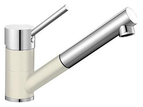 Antas-S 515351 Хром/ЖасминСмесители<br>Blanko Alta 515351. Однорычажный смеситель для кухни с выдвижным изливом. Сочетает хромированную поверхность и инновационный материал Silgranit, цвет хром/жасмин, рычаг переключения расположен вверху над изливом. Керамический картридж. Гибкая подводка стандарта 3/8. Допустимая толщина столешницы: 40 мм. Длина излива: 192 мм. Высота излива: 148 мм. Вращение излива на 140 градусов. Два возвратных клапана, предотвращающих возврат воды. Стабилизирующая пластина для увеличения устойчивости смесителя.<br>