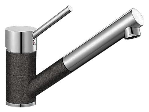 Antas-S 515356 Хром/АнтрацитСмесители<br>Blanko Alta 515356. Однорычажный смеситель для кухни с выдвижным изливом. Сочетает хромированную поверхность и инновационный материал Silgranit, цвет хром/антрацит, рычаг переключения расположен вверху над изливом. Керамический картридж. Гибкая подводка стандарта 3/8. Допустимая толщина столешницы: 40 мм. Длина излива: 192 мм. Высота излива: 148 мм. Вращение излива на 140 градусов. Два возвратных клапана, предотвращающих возврат воды. Стабилизирующая пластина для увеличения устойчивости смесителя.<br>