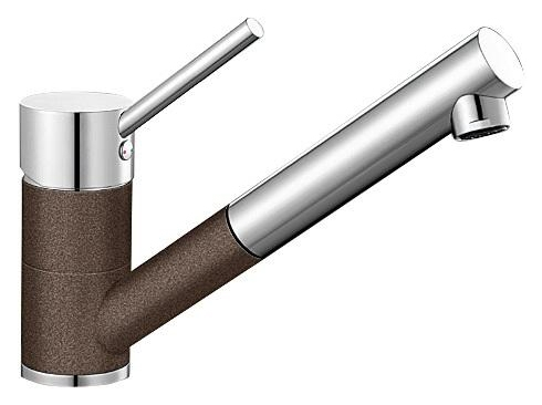 Antas-S 515357 Хром/КофеСмесители<br>Blanko Alta 515357. Однорычажный смеситель для кухни с выдвижным изливом. Сочетает хромированную поверхность и инновационный материал Silgranit, цвет хром/кофе, рычаг переключения расположен вверху над изливом. Керамический картридж. Гибкая подводка стандарта 3/8. Допустимая толщина столешницы: 40 мм. Длина излива: 192 мм. Высота излива: 148 мм. Вращение излива на 140 градусов. Два возвратных клапана, предотвращающих возврат воды. Стабилизирующая пластина для увеличения устойчивости смесителя.<br>