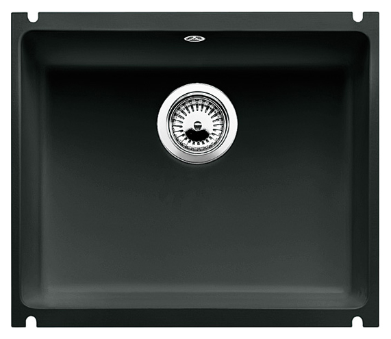 Subline 500-U 514515 чернаяКухонные мойки<br>Кухонная мойка Blanco Subline 500-U 514515 с клапаном-автоматом из керамики с водоотталкивающим покрытием PuraPlus®.  Благодаря покрытию на поверхности мойки образуется меньше отложений и ее легче чистить. Монтаж под столешницу, толщина которой должна быть не менее 25 мм. Для установки в шкаф шириной от 60 см.<br>