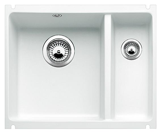 Subline 350/150-U 514525 белая матоваяКухонные мойки<br>Кухонная мойка Blanco Subline 350/150-U 514525 с клапаном-автоматом, из керамики с водоотталкивающим покрытием PuraPlus®, большая чаша слева, маленькая справа. Благодаря покрытию на поверхности мойки образуется меньше отложений и ее легче чистить. Для установки в шкаф шириной от 60 см с минимальной толщиной столешницы 25 мм. Установка под столешницу.<br>