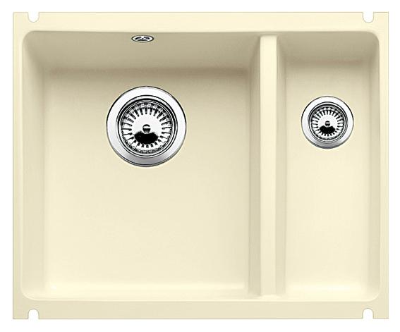 Subline 350/150-U 514527 жасминКухонные мойки<br>Кухонная мойка Blanco Subline 350/150-U 514527 с клапаном-автоматом, из керамики с водоотталкивающим покрытием PuraPlus®, большая чаша слева, маленькая справа. Благодаря покрытию на поверхности мойки образуется меньше отложений и ее легче чистить. Для установки в шкаф шириной от 60 см с минимальной толщиной столешницы 25 мм. Установка под столешницу.<br>
