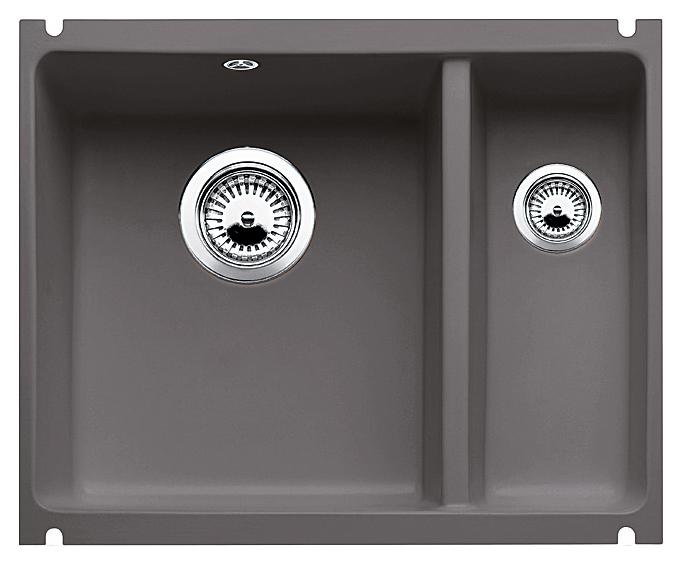 Subline 350/150-U 516976 базальтКухонные мойки<br>Кухонная мойка Blanco Subline 350/150-U 516976 с клапаном-автоматом, из керамики с водоотталкивающим покрытием PuraPlus®, большая чаша слева, маленькая справа. Благодаря покрытию на поверхности мойки образуется меньше отложений и ее легче чистить. Для установки в шкаф шириной от 60 см с минимальной толщиной столешницы 25 мм. Установка под столешницу.<br>