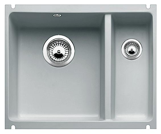 Subline 350/150-U 514528 серый алюминийКухонные мойки<br>Кухонная мойка Blanco Subline 350/150-U 514528 с клапаном-автоматом из керамики с водоотталкивающим покрытием PuraPlus®, большая чаша слева, маленькая справа. Благодаря покрытию на поверхности мойки образуется меньше отложений и ее легче чистить. Для установки в шкаф шириной от 60 см с минимальной толщиной столешницы 25 мм. Установка под столешницу, может потребоваться выпил на боковых стенках шкафа. Цена указана за мойку. Все остальное приобретается дополнительно.<br>