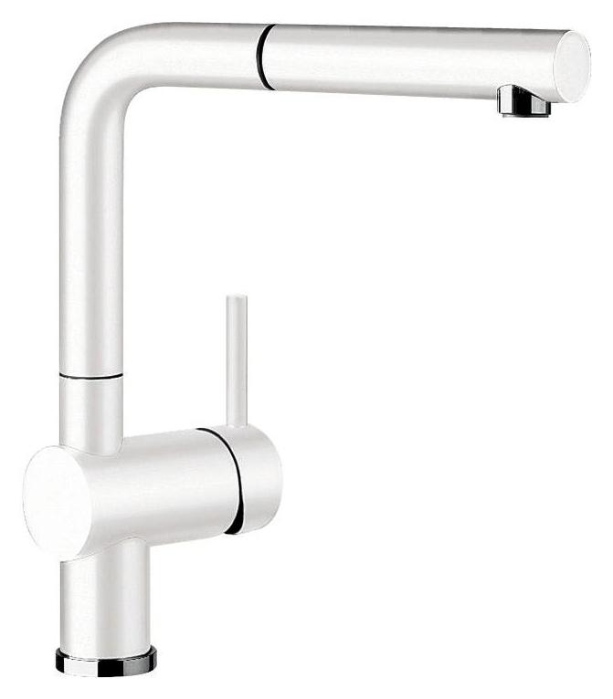 Linus-S 516692 БелыйСмесители<br>Blanko Linus-S 516692. Однорычажный смеситель для кухни с выдвижным изливом. Сочетает хромированную поверхность и инновационный материал Silgranit, цвет белый. Керамический картридж. Гибкая подводка стандарта 3/8. Допустимая толщина столешницы: 50 мм. Длина излива: 219 мм. Высота излива: 254 мм. Вращение излива на 140 градусов. Стабилизирующая пластина для увеличения устойчивости смесителя.<br>