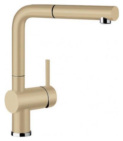 Linus-S 516694 ШампаньСмесители<br>Blanko Linus-S 516694. Однорычажный смеситель для кухни с выдвижным изливом. Сочетает хромированную поверхность и инновационный материал Silgranit, цвет шампань. Керамический картридж. Гибкая подводка стандарта 3/8. Допустимая толщина столешницы: 50 мм. Длина излива: 219 мм. Высота излива: 254 мм. Вращение излива на 140 градусов. Стабилизирующая пластина для увеличения устойчивости смесителя.<br>