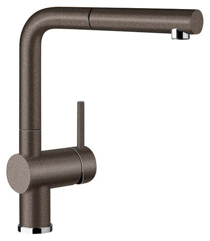 Linus-S 516697 КофеСмесители<br>Blanko Linus-S 516697. Однорычажный смеситель для кухни с выдвижным изливом. Сочетает хромированную поверхность и инновационный материал Silgranit, цвет кофе. Керамический картридж. Гибкая подводка стандарта 3/8. Допустимая толщина столешницы: 50 мм. Длина излива: 219 мм. Высота излива: 254 мм. Вращение излива на 140 градусов. Стабилизирующая пластина для увеличения устойчивости смесителя.<br>