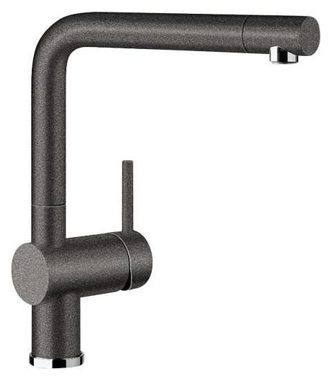Linus 516698 АнтрацитСмесители<br>Blanko Linus 516698. Однорычажный смеситель для кухни. Сочетает хромированную поверхность и инновационный материал Silgranit, цвет антрацит. Керамический картридж. Гибкая подводка стандарта 3/8. Допустимая толщина столешницы: 50 мм. Длина излива: 219 мм. Высота излива: 254 мм. Вращение излива на 360 градусов. Стабилизирующая пластина для увеличения устойчивости смесителя.<br>