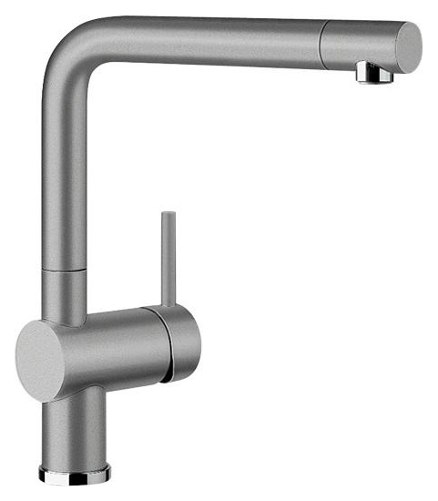 Linus 516699 АлюметалликСмесители<br>Blanko Linus 516699. Однорычажный смеситель для кухни. Сочетает хромированную поверхность и инновационный материал Silgranit, цвет алюметаллик. Керамический картридж. Гибкая подводка стандарта 3/8. Допустимая толщина столешницы: 50 мм. Длина излива: 219 мм. Высота излива: 254 мм. Вращение излива на 360 градусов. Стабилизирующая пластина для увеличения устойчивости смесителя.<br>