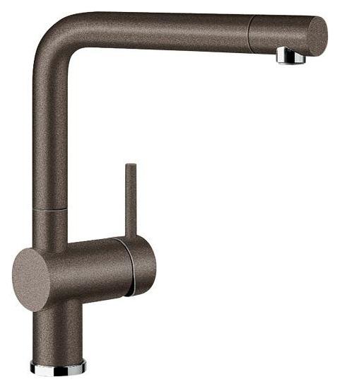 Linus 516707 КофеСмесители<br>Blanko Linus 516707. Однорычажный смеситель для кухни. Сочетает хромированную поверхность и инновационный материал Silgranit, цвет кофе. Керамический картридж. Гибкая подводка стандарта 3/8. Допустимая толщина столешницы: 50 мм. Длина излива: 219 мм. Высота излива: 254 мм. Вращение излива на 360 градусов. Стабилизирующая пластина для увеличения устойчивости смесителя.<br>