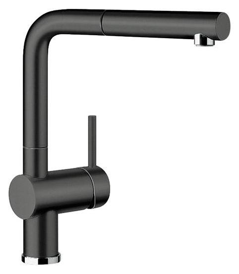 Linus-S 516708 ЧерныйСмесители<br>Blanko Linus-S 516708. Однорычажный смеситель для кухни с выдвижным изливом. Сочетает хромированную поверхность и инновационный материал Silgranit, цвет черный. Керамический картридж. Гибкая подводка стандарта 3/8. Допустимая толщина столешницы: 50 мм. Длина излива: 219 мм. Высота излива: 254 мм. Вращение излива на 140 градусов. Стабилизирующая пластина для увеличения устойчивости смесителя.<br>