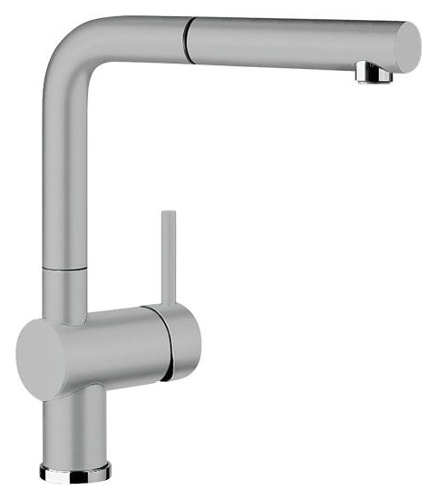 Linus-S 516709 Серый алюминийСмесители<br>Blanko Linus-S 516709. Однорычажный смеситель для кухни с выдвижным изливом. Сочетает хромированную поверхность и инновационный материал Silgranit, цвет серый алюминий. Керамический картридж. Гибкая подводка стандарта 3/8. Допустимая толщина столешницы: 50 мм. Длина излива: 219 мм. Высота излива: 254 мм. Вращение излива на 140 градусов. Стабилизирующая пластина для увеличения устойчивости смесителя.<br>