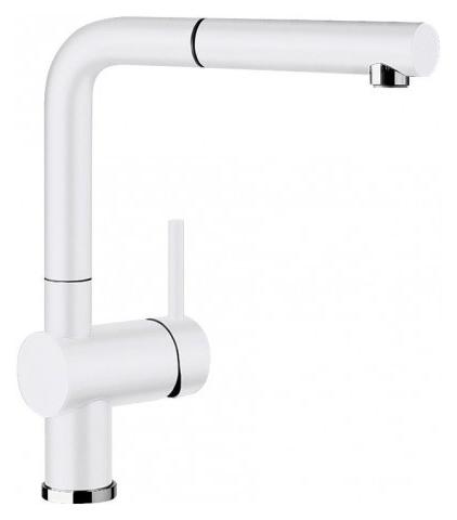 Linus-S 516710 Белый глянцевыйСмесители<br>Blanko Linus-S 516710. Однорычажный смеситель для кухни с выдвижным изливом. Сочетает хромированную поверхность и инновационный материал Silgranit, цвет белый глянцевый. Керамический картридж. Гибкая подводка стандарта 3/8. Допустимая толщина столешницы: 50 мм. Длина излива: 219 мм. Высота излива: 254 мм. Вращение излива на 140 градусов. Стабилизирующая пластина для увеличения устойчивости смесителя.<br>
