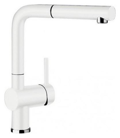 Linus-S 516711 Белый матовыйСмесители<br>Blanko Linus-S 516711. Однорычажный смеситель для кухни с выдвижным изливом. Сочетает хромированную поверхность и инновационный материал Silgranit, цвет белый матовый. Керамический картридж. Гибкая подводка стандарта 3/8. Допустимая толщина столешницы: 50 мм. Длина излива: 219 мм. Высота излива: 254 мм. Вращение излива на 140 градусов. Стабилизирующая пластина для увеличения устойчивости смесителя.<br>
