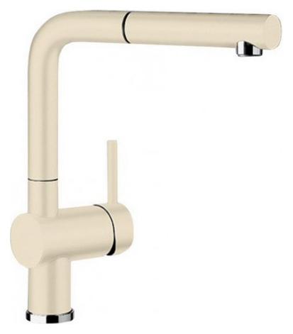 Linus-S 516712 ЖасминСмесители<br>Blanko Linus-S 516712. Однорычажный смеситель для кухни с выдвижным изливом. Сочетает хромированную поверхность и инновационный материал Silgranit, цвет жасмин. Керамический картридж. Гибкая подводка стандарта 3/8. Допустимая толщина столешницы: 50 мм. Длина излива: 219 мм. Высота излива: 254 мм. Вращение излива на 140 градусов. Стабилизирующая пластина для увеличения устойчивости смесителя.<br>