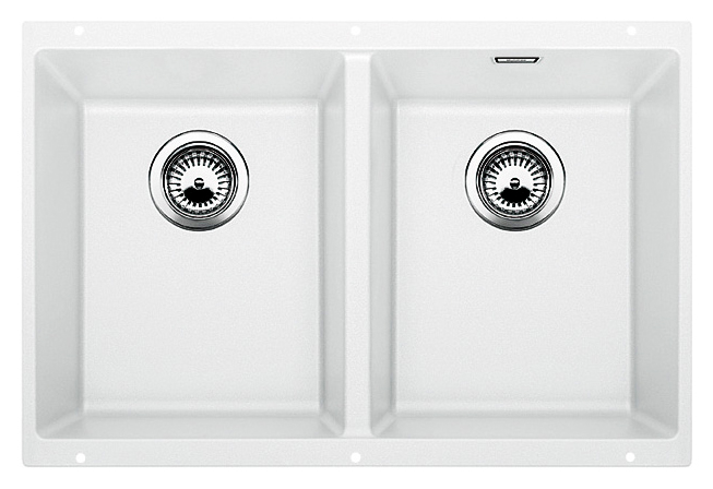Subline 350/350-U 516287 белаяКухонные мойки<br>Кухонная мойка Blanco Subline 350/350-U 516287. Максимальный объем чаш благодаря современным технологиям производства и установки. Элегантный и гигиеничный перелив C-overflow®. Для установки в шкаф шириной от 80 см. Цена указана за мойку. Все остальное приобретается дополнительно.<br>