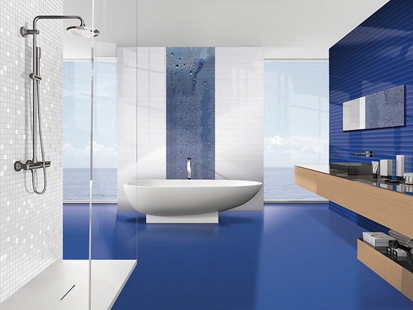 Керамическая плитка Ibero Groove Royal Blue 25х75 настенная