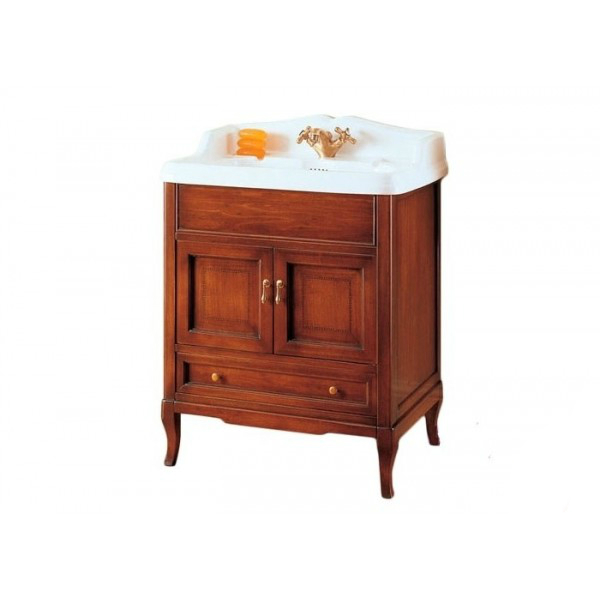 Victoria 70 Орех/БронзаМебель для ванной<br>Мебель для ванной Labor Legno, тумба Victoria HPL70 с двумя распашными дверцами и одним выдвижным ящиком, а также с раковиной столешницей Simas Arcade AR834. Фасад орех, фурнитура бронза, раковина белый.<br>