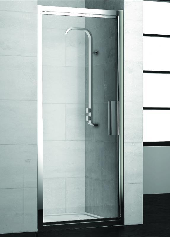 Lybre 800x2000 блестящее серебро/стекло прозрачноеДушевые ограждения<br>1-секционная поворотно-сдвижная дверь в нишу Sturm Lybre 800х2000.<br>