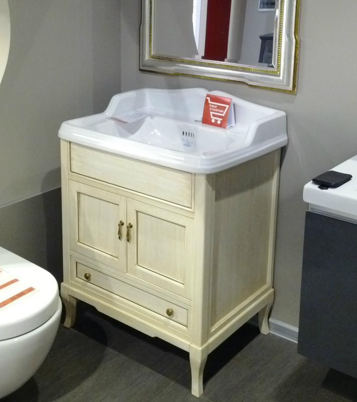 Victoria 70 Белый с патиной/бронзаМебель для ванной<br>Мебель для ванной Labor Legno, тумба Victoria HPL70PAT с двумя распашными дверцами и одним выдвижным ящиком, а также с раковиной столешницей Simas Arcade AR834. Фасад белый с патиной, фурнитура бронза, раковина белый.<br>