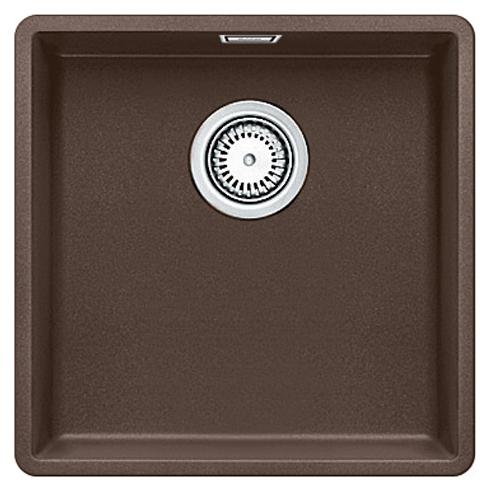 Subline 400-F 519801 кофеКухонные мойки<br>Кухонная мойка Blanco Subline 400-F 519801. Максимальная вместимость чаши создает оптимальную эргономику рабочего процесса на кухне. Для установки в шкаф шириной от 50 см. Монтаж в один уровень со столешницей.<br>