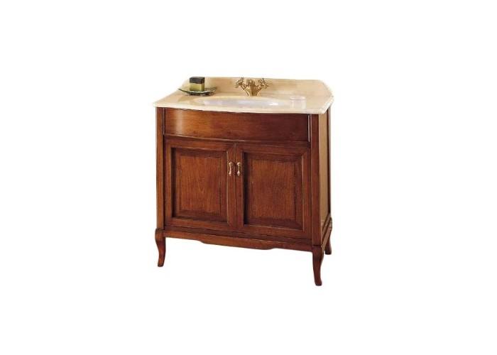 Victoria 90 Орех/БронзаМебель для ванной<br>Мебель для ванной Labor Legno, тумба Victoria HPL90 с двумя распашными дверцами, а также раковиной HCLUX90 с одним отверстием. Фасад орех, фурнитура бронза, раковина белый.<br>