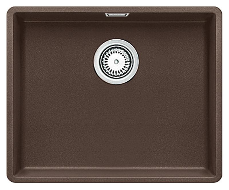 Subline 500-F 519814 кофеКухонные мойки<br>Кухонная мойка Blanco Subline 500-F 519814. Максимальная вместимость чаши создает оптимальную эргономику рабочего процесса на кухне. Для установки в шкаф шириной от 60 см. Монтаж в один уровень со столешницей.<br>