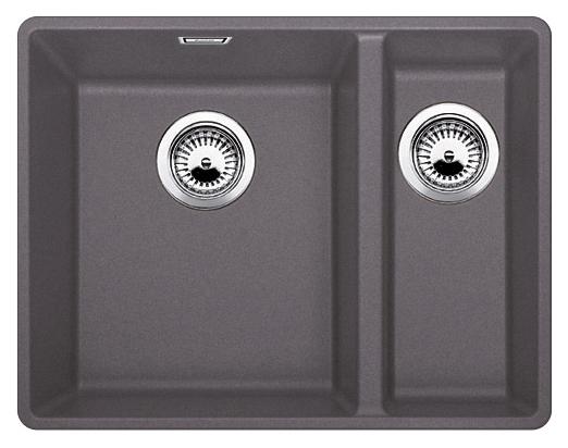 Subline 340/160-F 519803 темная скалаКухонные мойки<br>Кухонная мойка Blanco Subline 340/160-F 519803. Максимальная вместимость чаш создает оптимальную эргономику рабочего процесса на кухне, чаша большая слева, маленькая справа. Для установки в шкаф шириной от 60 см. Монтаж в один уровень со столешницей. Цена указана за мойку. Все остальное приобретается дополнительно.<br>