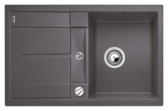 Metra 45 S 518868 темная скалаКухонные мойки<br>Кухонная мойка Blanco Metra 45 S 518868 врезная, 1 чаша с крылом. Крыло оснащено интегрированным сливом. Для установки в шкаф шириной от 45 см. Возможна установка под столешницу. Нужно учитывать ширину пристенного канта в случае установки мойки возле стены или пенала.<br>