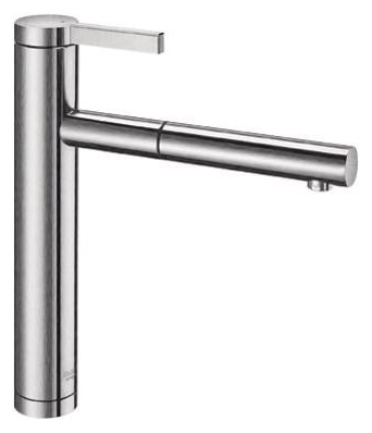 Linee-S 517592 Нержавеющая сталь с зеркальной полировкойСмесители<br>Blanko Linee-S 517592. Однорычажный смеситель для кухни с выдвижным изливом. Цвет нержавеющая сталь с зеркальной полировкой. Керамический картридж. Гибкая подводка стандарта 3/8. Допустимая толщина столешницы: 40 мм. Длина излива: 208 мм. Высота излива: 190 мм. Вращение излива на 130 градусов. Возвратные клапаны, предотвращающие возврат воды. Стабилизирующая пластина для увеличения устойчивости смесителя.<br>