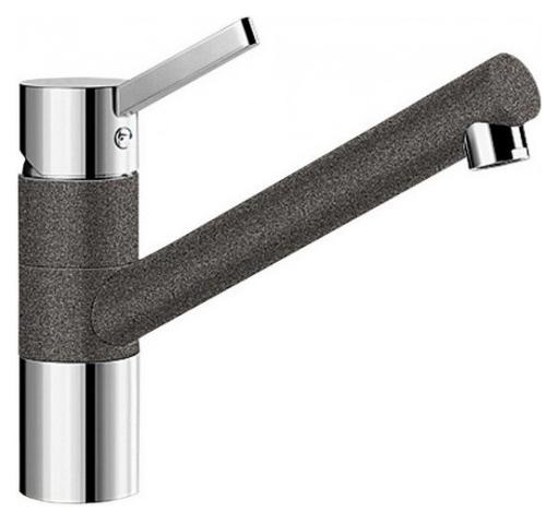 Tivo 517600 Хром/АнтрацитСмесители<br>Blanko Tivo 517600. Однорычажный смеситель для кухни. Сочетает хромированную поверхность и инновационный материал Silgranit, цвет хром/антрацит. Керамический картридж. Гибкая подводка стандарта 3/8. Допустимая толщина столешницы: 40 мм. Длина излива: 215 мм. Высота излива: 145 мм. Вращение излива на 360 градусов. Стабилизирующая пластина для увеличения устойчивости смесителя.<br>