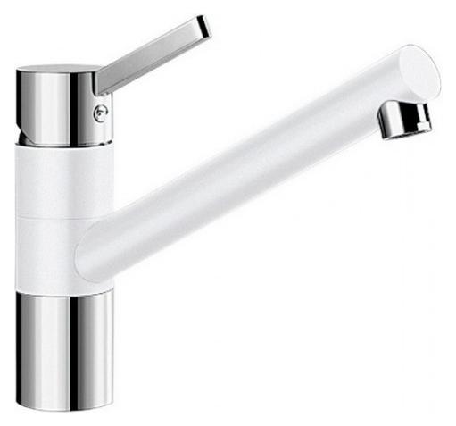 Tivo 517603 Хром/БелыйСмесители<br>Blanko Tivo 517603. Однорычажный смеситель для кухни. Сочетает хромированную поверхность и инновационный материал Silgranit, цвет хром/белый. Керамический картридж. Гибкая подводка стандарта 3/8. Допустимая толщина столешницы: 40 мм. Длина излива: 215 мм. Высота излива: 145 мм. Вращение излива на 360 градусов. Стабилизирующая пластина для увеличения устойчивости смесителя.<br>